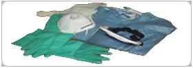 L'mmagine raffigura guanti, maschera e camice