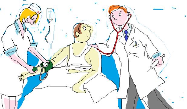 L'immagine raffigura un'infermiera che misura la pressione al paziente e il medico che visita il paziente