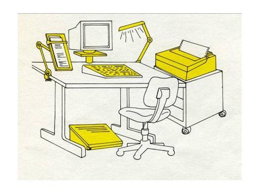 Immagine di una scrivania con computer